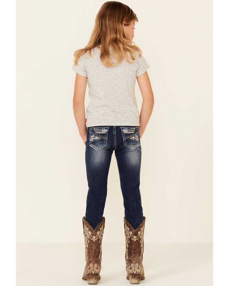 Grace In LA Girls' Medium Wash Heavy Stitched Pocket Straight Leg Jeans , Blue, hi-res