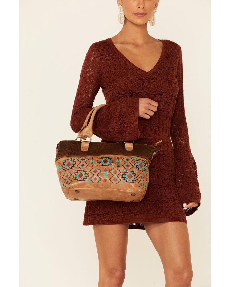 Shyanne Women's Madison Aztec Messenger Handbag, Tan, hi-res