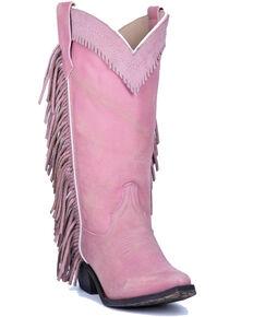 Laredo Women's Pink Side Fringe Western Boots - Snip Toe, Pink, hi-res