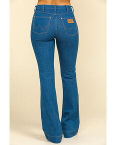 Wrangler Women's High Rise Lowdip Rinse Bootcut Jeans , Blue, hi-res
