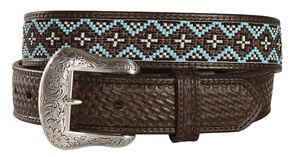 Nocona Beaded Leather Belt, Brown, hi-res