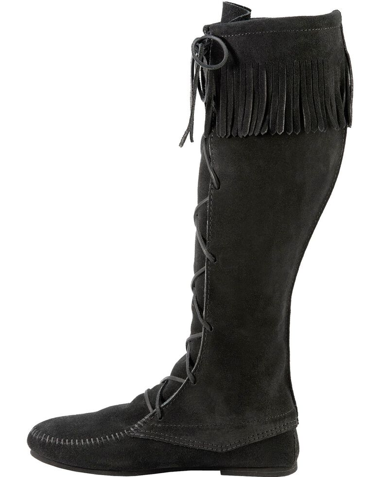 Minnetonka Men's Lace-Up Suede Knee High Boots, Black, hi-res