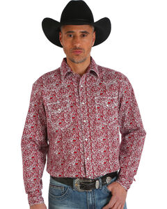 Wrangler Men's 20X Advanced Comfort Paisley Print Shirt , Red, hi-res