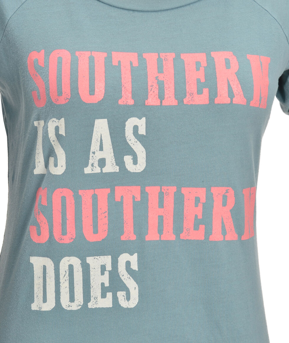 "ATX Mafia Blue ""Southern Is As Southern Does"" Baseball Tee, Blue, hi-res"