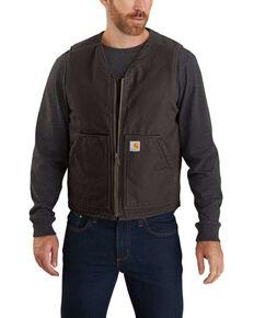 Carhartt Men's Dark Brown Washed Duck Sherpa Lined Vest, Dark Brown, hi-res