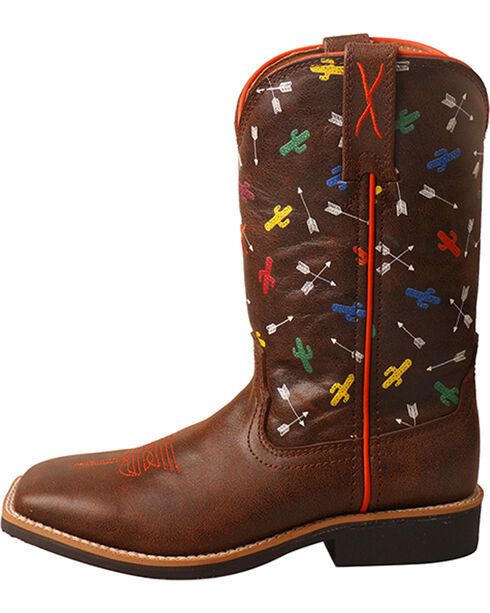 Twisted X Kids' Top Hand Arrow Cactus Cowboy Boots - Square Toe, Brown, hi-res