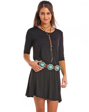 Panhandle Women's Solid Knit Long Sleeve Dress, Black, hi-res