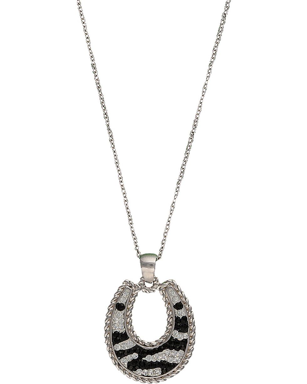 Montana Silversmiths Zebra Horseshoe Necklace, Silver, hi-res