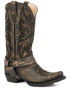 Roper Men's Carson Western Boots - Snip Toe, Black, hi-res