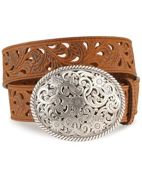 Tony Lama Floral Cutout Leather Belt, Brown, hi-res