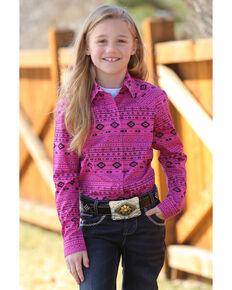 4cd5a37b Cruel Girl Girls Aztec Print Snap Long Sleeve Western Shirt, Multi, hi-res