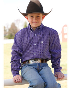 Cinch Boys' Match Dad Purple Print Long Sleeve Button Down Shirt, Purple, hi-res