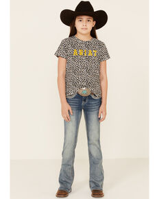 Grace In LA Girls' Border Stitched Embellishment Pocket Bootcut Jeans , Blue, hi-res
