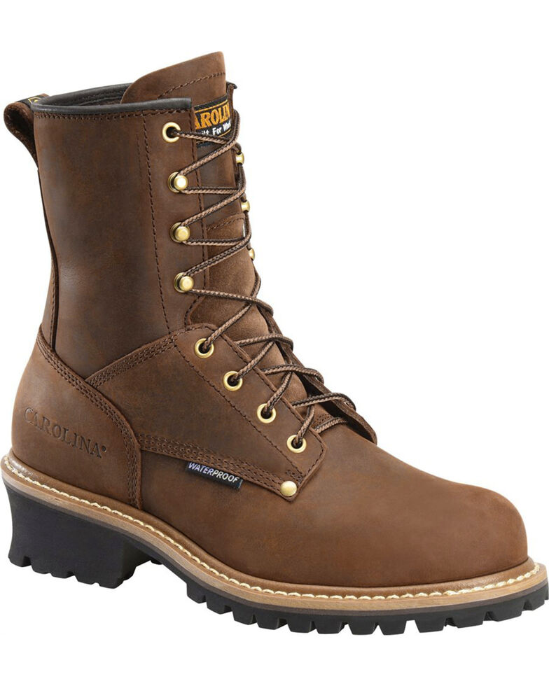 "Carolina Men's Brown 8"" Waterproof Logger Boots - Round Toe, Brown, hi-res"