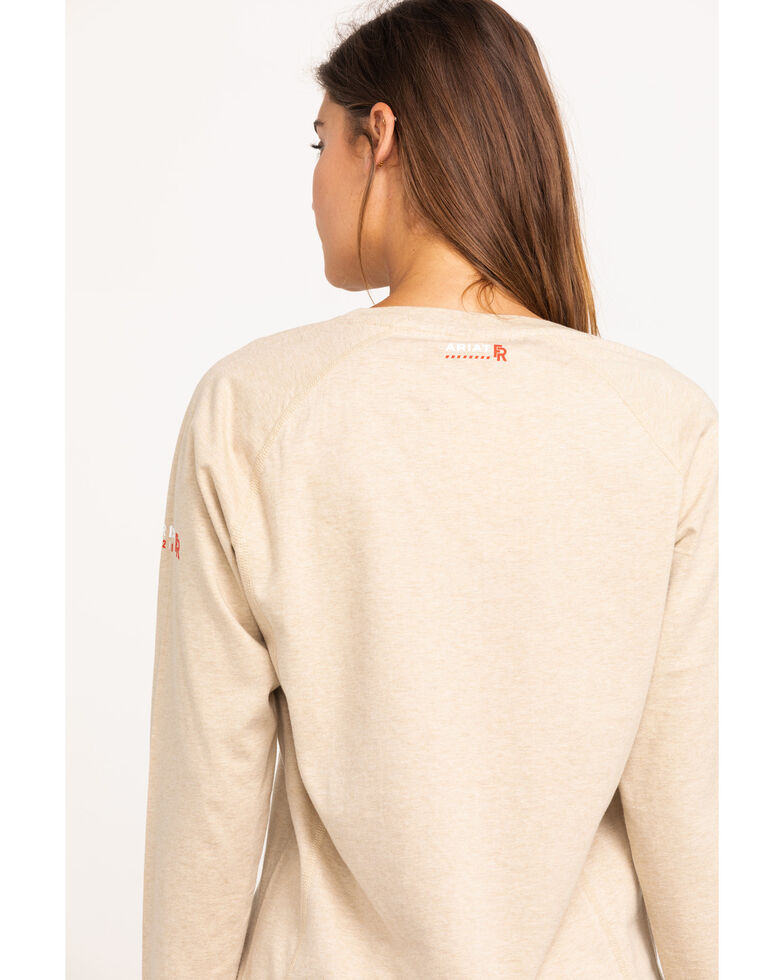 Ariat Women's Sand Heather Air Crew FR T-Shirt, Tan/brown, hi-res