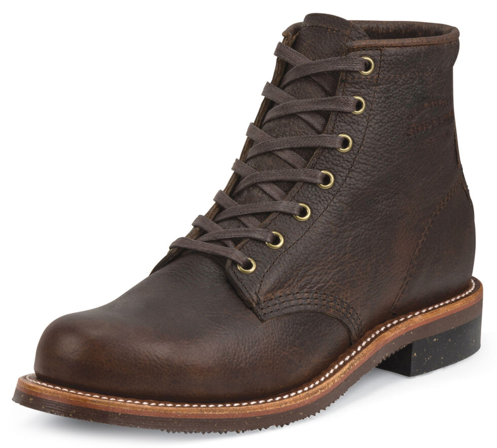 """Chippewa Men's 6"""" Lace-Up Briar Pitstop Service Boots - Round Toe, Bark, hi-res"""