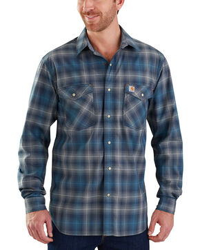 Carhartt Men's Dark Brown Rugged Flex Bozeman Long Sleeve Shirt , Navy, hi-res
