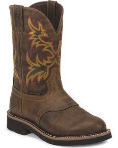 Justin Men's Stampede Installer Waterproof Work Boots - Soft Toe, Brown, hi-res