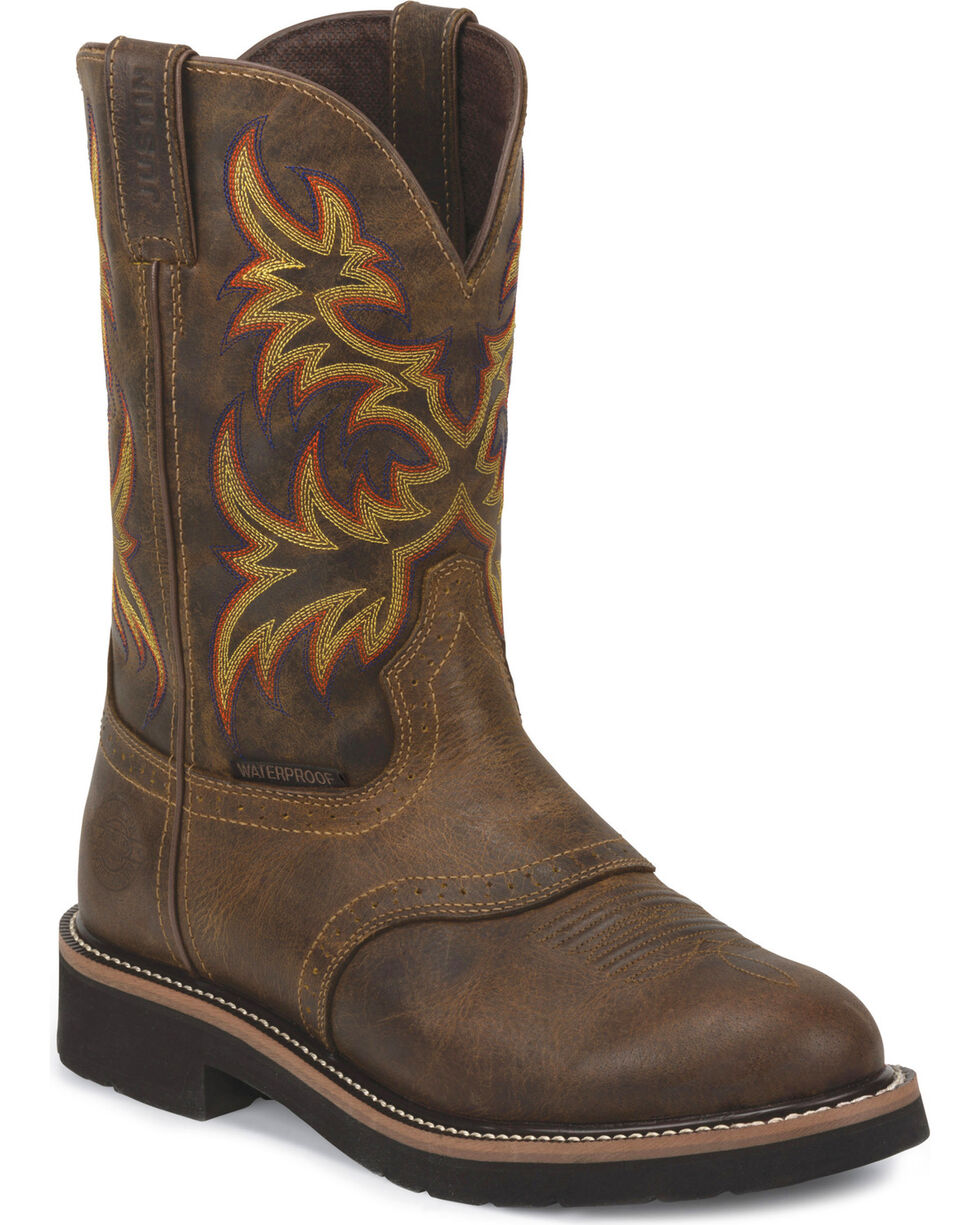 Justin Men's Stampede Installer Waterproof Work Boots - Soft Toe, Brown, hi-res