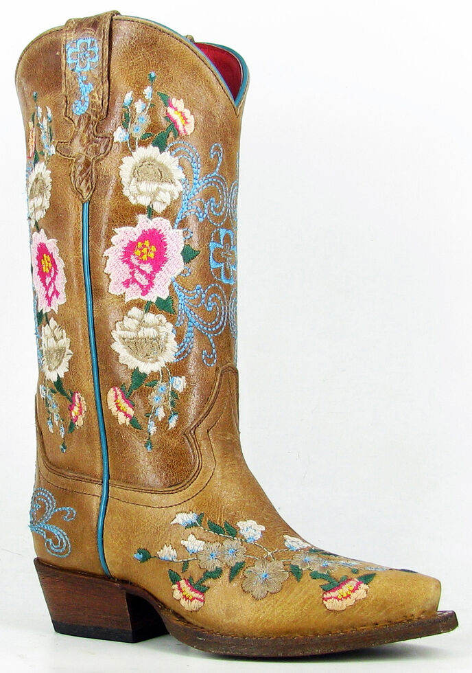 Anderson Bean Youth Girls' Honey Bunch Cowgirl Boots - Snip Toe, Tan, hi-res