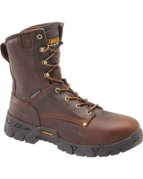 "Carolina Men's 8"" Waterproof Work Boots - Comp Toe, Dark Brown, hi-res"
