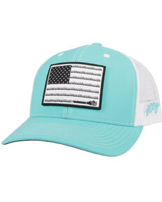 HOOey Men's Turquoise Liberty Roper Flag Patch Mesh Ball Cap  , Turquoise, hi-res