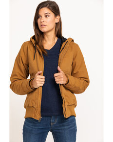 Carhartt Women's Sandstone Quilted-Flannel Active Work Jacket, Brown, hi-res