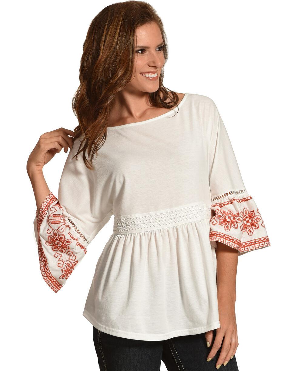 Polagram Women's Embroidered Ruffle Hem Top , White, hi-res