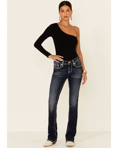 Miss Me Women's Medium Wash Ombre Embroidered Mid Rise Bootcut Jeans , Dark Blue, hi-res