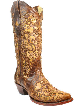Corral Women's Brown Floral Cutout Crackle Underlay Cowgirl Boots - Snip Toe, Brown, hi-res
