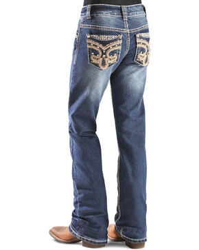 Red Ranch Girls' Fleur de Lis Bootcut Jeans - 4-6X, Denim, hi-res