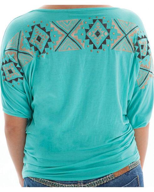 Cowgirl Tuff Women's Short Sleeve Aztec Shirt, Turquoise, hi-res