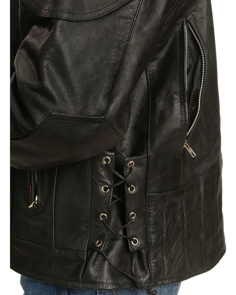 Interstate Leather Touring Motorcycle Leather Jacket, Black, hi-res