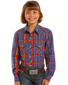 Panhandle Girls' Royal Blue Plaid Long Sleeve Snap Shirt, Royal Blue, hi-res