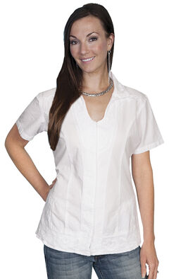 Scully Button Front Short Sleeve Top, White, hi-res
