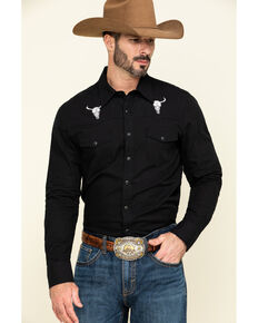 Rock & Roll Denim Men's Solid Bull Embroidered Long Sleeve Western Shirt , Black, hi-res