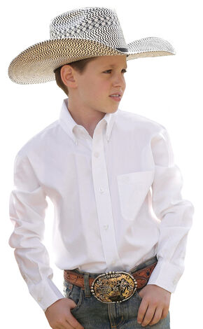 Cinch ® Boys' Long Sleeve Shirt, White, hi-res