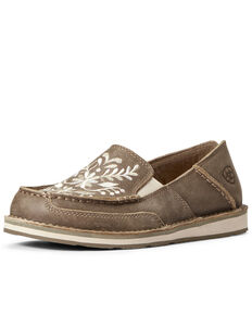 Ariat Women's Floral Cruiser Shoes - Moc Toe, Brown, hi-res