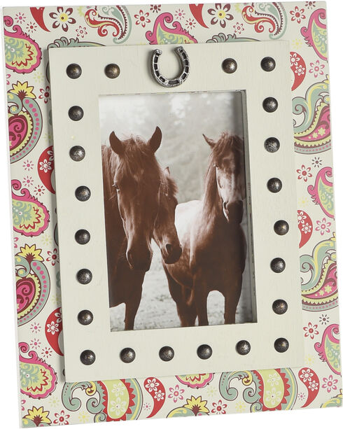 BB Ranch Paisley Frame with Studs and Horseshoe , No Color, hi-res