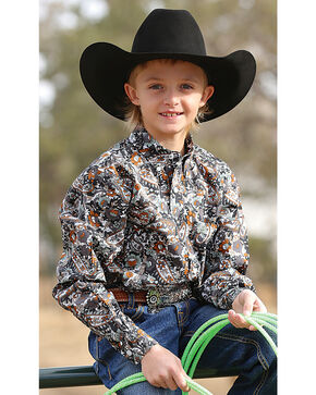 Cinch Boys' Paisley Button Down Long Sleeve Shirt , Multi, hi-res