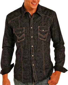 Rock & Roll Cowboy Men's Black Paisley Stitched Long Sleeve Shirt , Black, hi-res