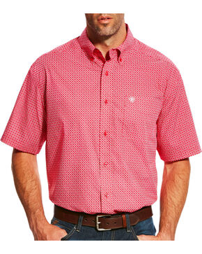 Ariat Men's Casual Series Lennon Rose Red Print Short Sleeve Shirt - Big & Tall, Red, hi-res