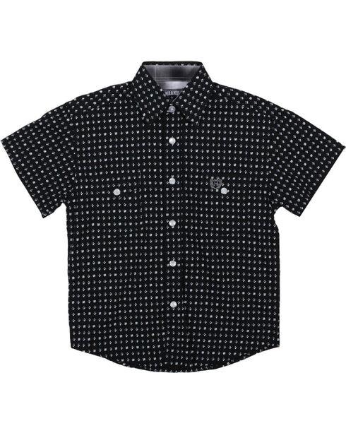 Panhandle Boys' Black Allover Print Double Pockets Shirt , Black, hi-res