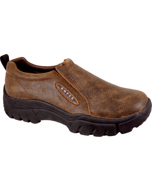 Roper Men's Brown Suede Sport Slip-On Shoes , Distressed Brown, hi-res