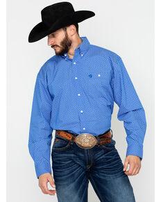 George Strait by Wrangler Men's Blue Paisley Geo Print Long Sleeve Western Shirt, Blue/white, hi-res