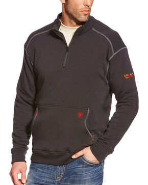 Ariat Men's Black FR Polartec 1/4 Zip Fleece Pullover, Black, hi-res