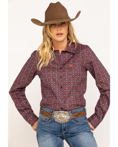 Cinch Women's Brown Aztec Print Core Long Sleeve Western Shirt , Brown, hi-res