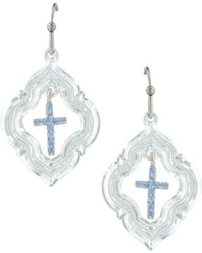 Montana Silversmiths Women's Looking Through To Faith Cross Earrings , Silver, hi-res