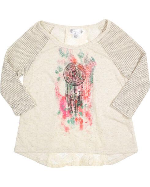 Shyanne Girls' Aztec Dreamcatcher 3/4 Sleeve Tee , Grey, hi-res