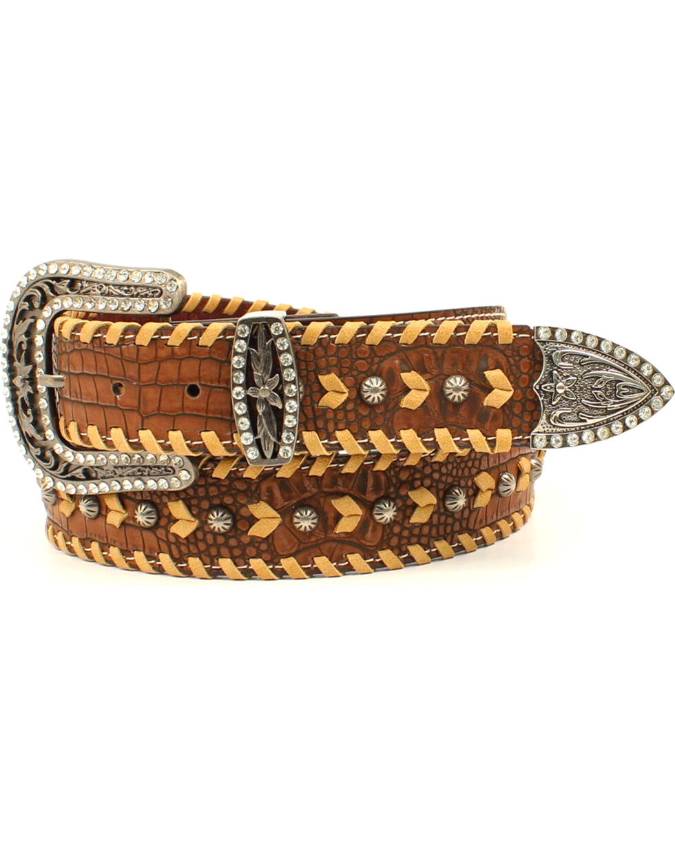 Nocona Women's Genuine Leather Stud Lacing & Rhinestone Belt, Brown, hi-res